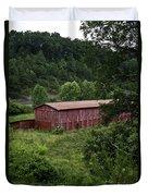 Tobacco Barn From Afar Duvet Cover