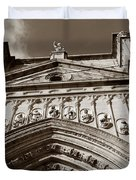 Toledo Cathedral Entrance In Sepia Duvet Cover
