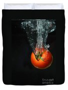 Tomato Falling Into Water Duvet Cover