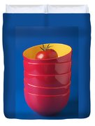 Tomato In Stacked Bowls Duvet Cover by Garry Gay