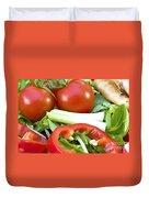 Tomato Salad Close Up Duvet Cover