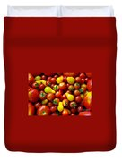 Tomatoes Background Duvet Cover by Carlos Caetano