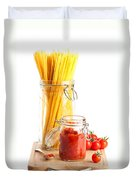 Tomatoes Sauce And  Spaghetti Pasta  Duvet Cover by Amanda Elwell
