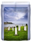 Tombstones Near Atlantic Coast In Newfoundland Duvet Cover by Elena Elisseeva