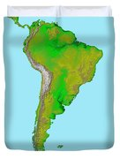 Topographic View Of South America Duvet Cover