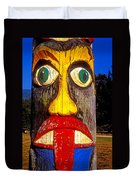 Totem Pole With Tongue Sticking Out Duvet Cover