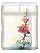 Touch Of Summer Hollyhocks Watercolor Duvet Cover