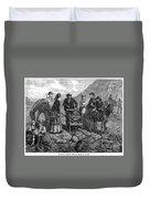 Tourists At Vesuvius, 1872 Duvet Cover