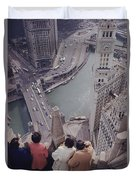 Tourists Looking Down On The Chicago Duvet Cover