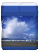 Tourists On The Beach, Inch Beach Duvet Cover