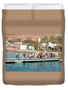 Tourists Waiting To Climb Onto Dive And Snorkeling Boats At Sharm El Sheikh Duvet Cover