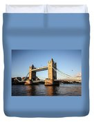 Tower Bridge And Helicopter Duvet Cover