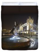 Tower Bridge Girl With A Dolphin Duvet Cover