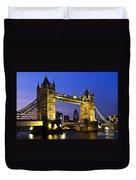 Tower Bridge In London At Night Duvet Cover