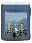 Tower Bridge With Hms Belfast Duvet Cover