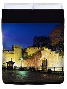 Tower Of London Walls At Night Duvet Cover