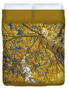 Towering Autumn Aspens With Deep Blue Sky Duvet Cover