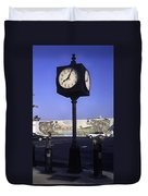 Town Clock Duvet Cover by Sally Weigand