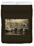 Track On The River In Sepia Duvet Cover