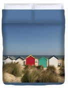 Traditional Beach Huts In The Sand Duvet Cover