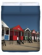 Traditional Beach Huts On The Seafront Duvet Cover