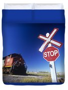 Train Passing Railway Crossing Duvet Cover