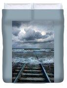 Train Tracks Into The Sea Duvet Cover