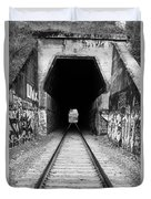 Train Tunnel At The Muir Trestle In Martinez California . 7d10235 . Black And White Duvet Cover