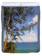 Tree And A Tropical Beach Duvet Cover