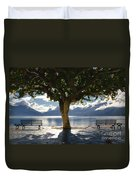 Tree And Benches Duvet Cover