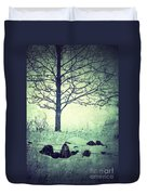 Tree And Fence In The Fog And Snow Duvet Cover