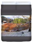 Tree And Tire Swing In Winter Duvet Cover