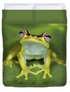 Tree Frog Hyla Rubracyla At Night Duvet Cover
