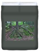Tree Growing Over A Rock Duvet Cover by Ted Kinsman