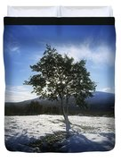 Tree On A Snow Covered Landscape Duvet Cover
