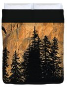 Tree Silhouettes In Front Of Cliff Face Duvet Cover