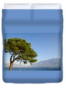 Tree Standing Close To A Lake Duvet Cover