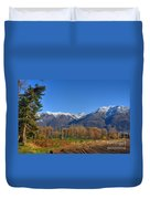 Trees And Mountain Duvet Cover