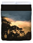 Trees And Mountaintops Above The Clouds Duvet Cover