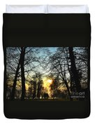 Trees And Sun In A Foggy Day Duvet Cover