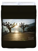 Trees And Sunset Duvet Cover