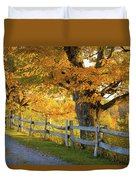 Trees In Autumn Colours And A Fence Duvet Cover