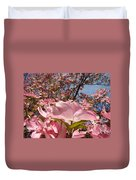 Trees Nature Fine Art Prints Pink Dogwood Flowers Duvet Cover by Baslee Troutman