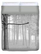 Trees On A Foggy  Morning Duvet Cover
