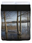 Trees On Flooded Riverbank No.1001 Duvet Cover
