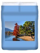 Trees On The Lake Front In Autumn Duvet Cover