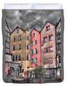 Tricolor Houses Duvet Cover