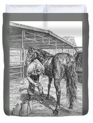Trim And Fit - Farrier With Horse Art Print Duvet Cover