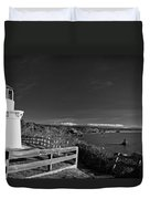Trinidad Memorial Lighthouse In Black And White Duvet Cover