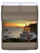 Trinidad Memorial Lighthouse Sunset Duvet Cover